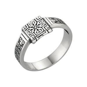 кольцо с молитвой серебряное