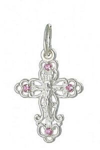 крест серебряный с фианитом