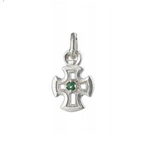 серебряный крестик с камнем