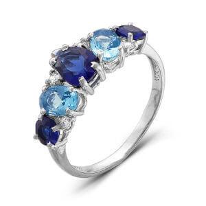 кольцо с синими фианитами
