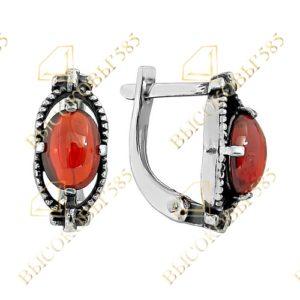 серебряные серьги с красным фианитом