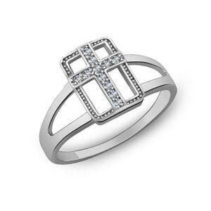 кольцо из серебра с крестиком