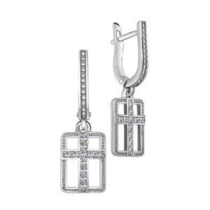 серьги из серебра с крестиком