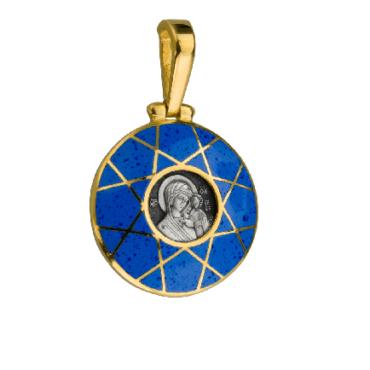 образок Казанская позолота серебро эмаль