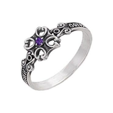 кольцо справославное с фианитом