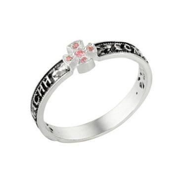 кольцо серебряное православное с фианитами