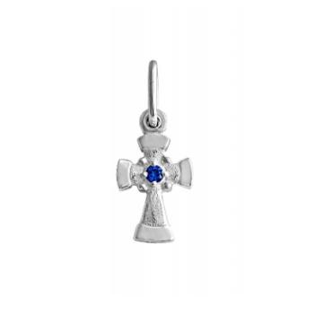 серебряный крестик с цветным камнем