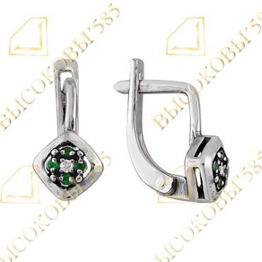 серебряные серьги с зелёным фианитом