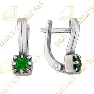 серьги из серебра с зелёным фианитом