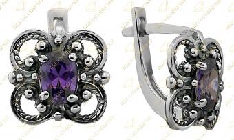 серебряные серьги с фиолетовым камнем