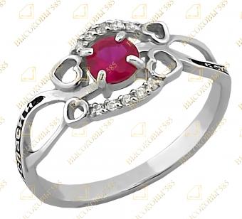 кольцо с молитвой с фианитом