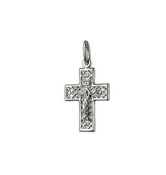 родированный крестик из серебра