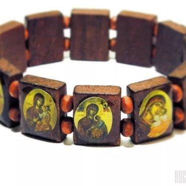 деревянный браслет с иконками