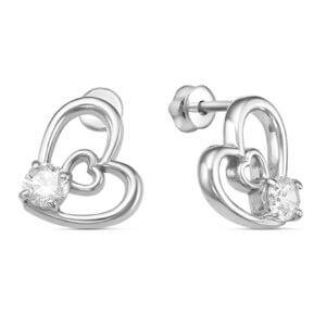 серьги в форме сердца серебро