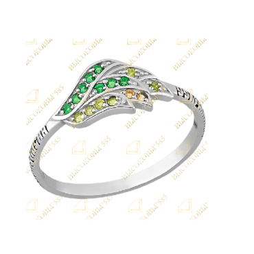 Серебряное кольцо с зелёным фианитом