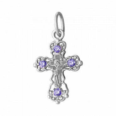 Серебряный крестик с камнями
