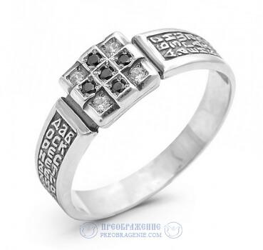 Серебряное православное кольцо с фианитами