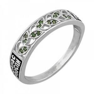 Православное кольцо с зелёными камнями