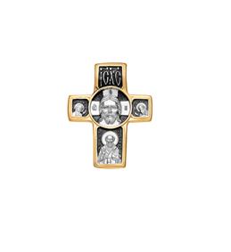 Мужской крест серебро с позолотой